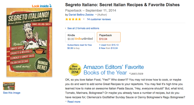 SEGRETO ITALIANO Wins BOOK of THE YEAR AWARD AMAZON.com